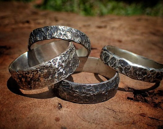 Featured listing image: Unique Hammered Textured Rustic Rugged Oxidised Distressed Silver Ring / Band US Sizes
