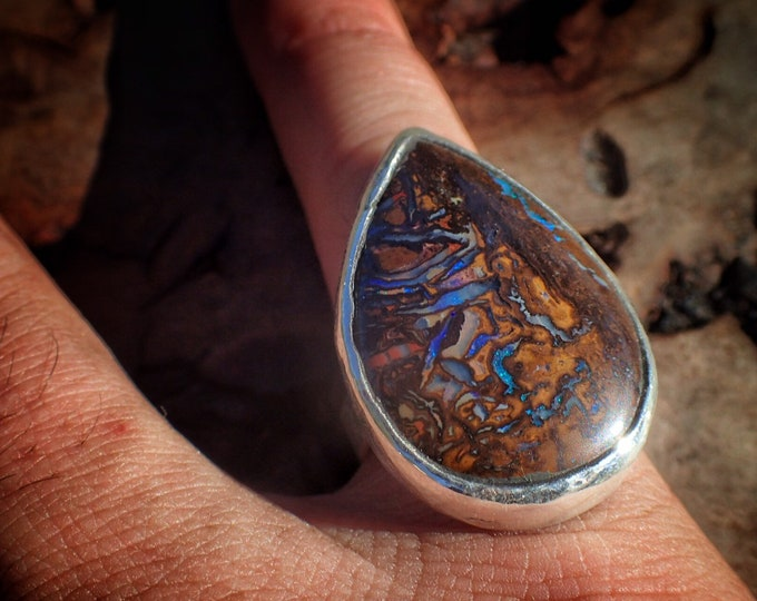 Featured listing image: Boulder Opal and Silver Ring ~ US size 8