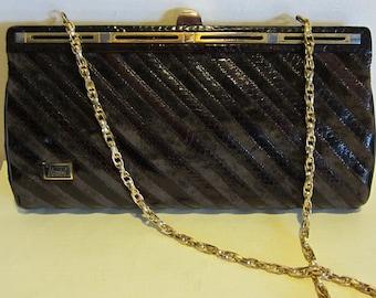 fa9cc410d2 Vintage Italian snake skin and velvet evening bag or clutch