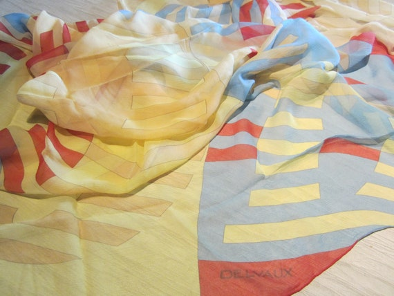 Big DELVAUX Silk scarf with stripes in silk mousse
