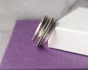 Silver Spinner Ring | Sterling Silver Fidget Ring | Silver Worry Ring | Chunky Ring | Wide Band Ring | Statement Ring | Handmade Rings UK
