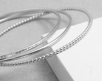 ef83d1876e7 Sterling Silver Bangle Set | Silver Bangle | Hammered Silver Bangle Bracelet  | Plain Smooth Bangle | Gifts For Her | Silver Stacking Bangles