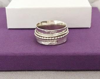 Silver Spinner Ring | Sterling Silver Fidget Ring | Silver Worry Ring | Hammered Ring | Wide Band Ring | Statement Ring | Handmade Rings UK