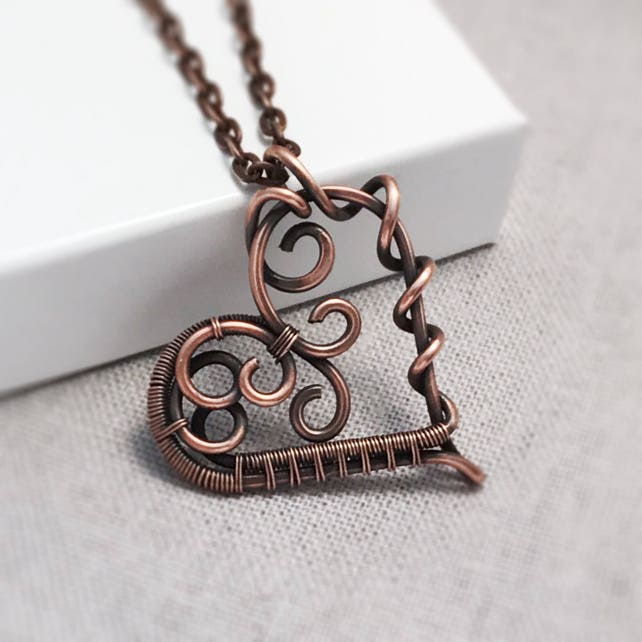 Copper Heart Necklace Wire Wrapped Heart Pendant 7th   Etsy