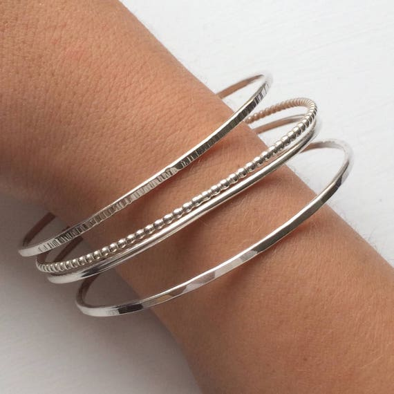HANDMADE SOLID STERLING SILVER MIXED HAMMERED STACKING BANGLE SET X 3 925