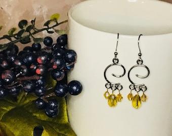 Swarvoski crystal yellow chandelier style cruve dangle earrings/weddings/anniversary/prom/gift