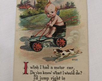 Fold Out Kewpie Baby Postcard Vintage Reinthal Newman Baby in Box of Bon-Bons Standing