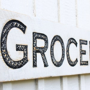 Carved in a 40x10 Solid Wood Board Rustic Distressed Shop Advertisement Farmhouse Decor Fixer Upper Style Grocery Sign Vertical