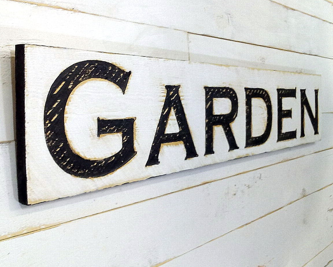 Garden Sign   Carved in a 20