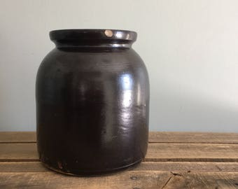Dark Brown Glaze Stoneware Crock Jar