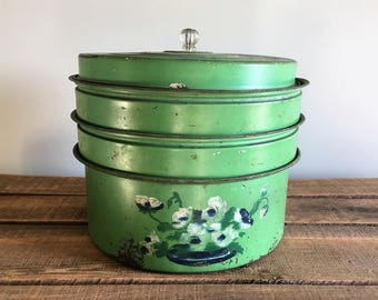 Vintage Green Three Tier Cake Carrier / Cake Tin with Glass Knob / Cake Keeper / Pie Carrier