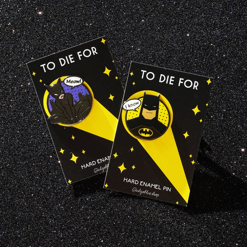 Batman & Catwoman Hard Enamel Pin Set  To die for  I Love image 0