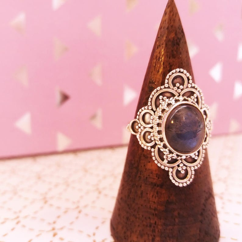 Opal silver ring  Vintage style jewelry victorial gothic boho image 0