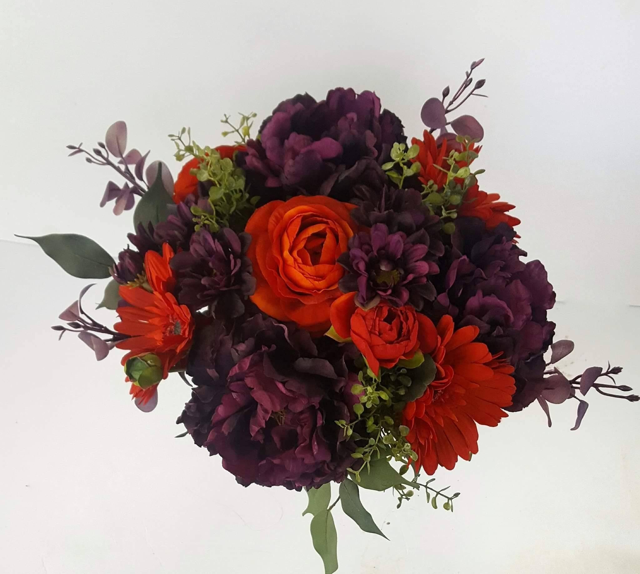 Fall Wedding Bridal Bouquet Purple And Orange Bouquet Etsy