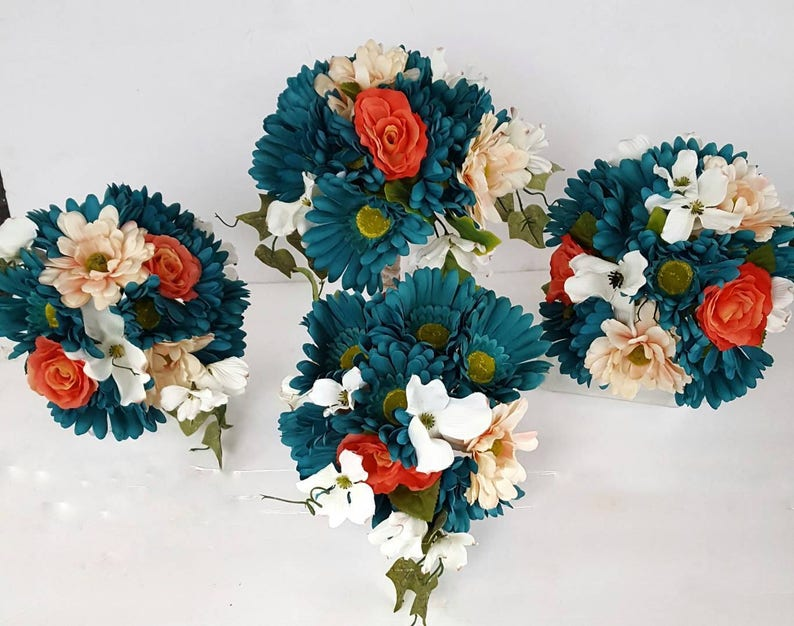 16f3a7c89026 Turquoise Teal and Coral Bridal Bouquet Set with Daisies
