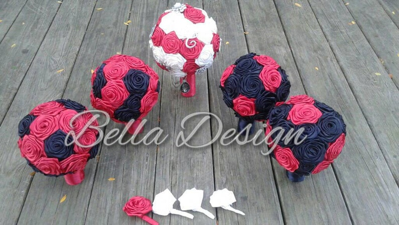 Red and Black Ribbon Rose Bouquet Set