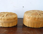Vintage Pair of Oval Woven Rattan Lidded Nesting Miniature Baskets, Made in China
