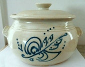 Vintage Blue White Hand-Made Pottery Bean Pot, Casserole, or Crock - 3 Qt capacity, signed EHW 1980