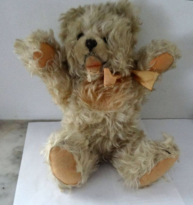 Vintage 11 Stieff White Zotty Jointed Teddy Bear RARE