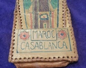 Sweet WW2 Vintage Leather Coin purse Casablanca Morocco 1944