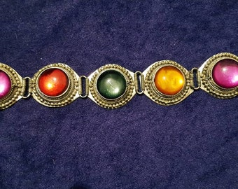 Vintage Indian colourful Beaded filigree circular design bracelet