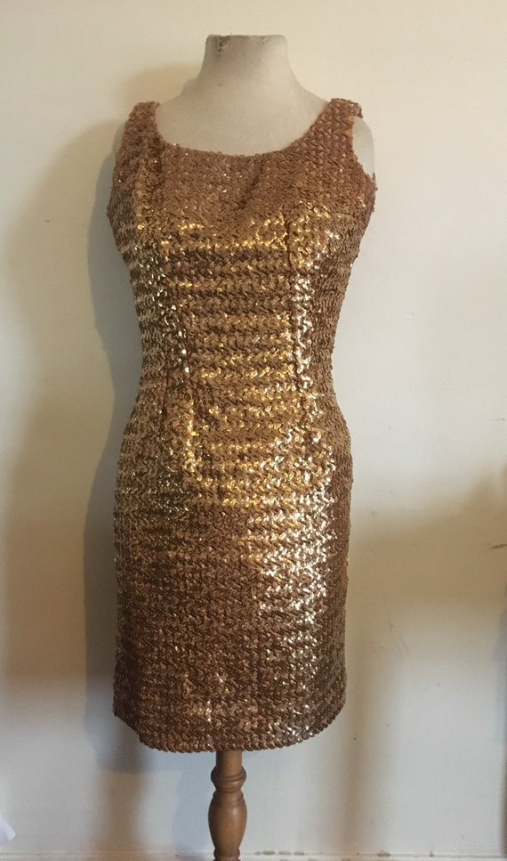 Vintage 1950s - 60s gold sequinned hourglass wiggl