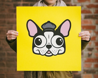 Pets in Tiny Hats (Sophie) Boston Terrier Dog Screen Print. Kids Room Art. Signed Limited Edition of 50. By Matt Douglas