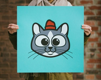 Pets in Tiny Hats (Sammy) Cat Screen Print. Kids Room Art. Signed Limited Edition of 50. By Matt Douglas