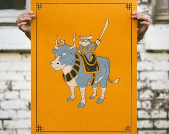 Bacon Cheeseburger - Pig & Cow Screen Print. Kids Room Art. Signed Limited Edition of 50. By Matt Douglas