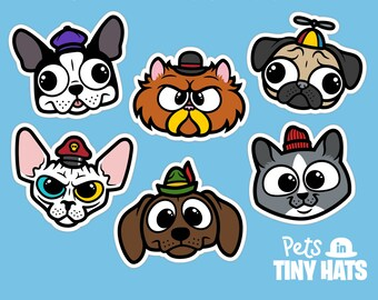 Vinyl Sticker Decal 6-Pack - Pets in Tiny Hats