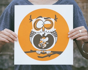 Last Gig - Owl Screen Print. Kids Room Art. Signed Limited Edition of 100. By Matt Douglas