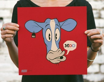 Moo! - Cow Screen Print. Kids Room Art. Signed Limited Edition of 100. By Matt Douglas