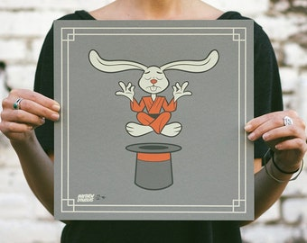 Levitating Coney - Bunny Rabbit Screen Print. Kids Room Art. Signed Limited Edition of 100. By Matt Douglas