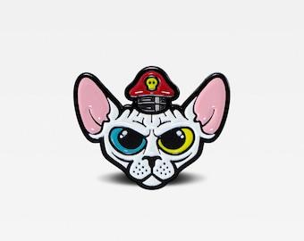 Sphynx Cat in General Hat Enamel Lapel Pin. Limited Edition of 100. By Matt Douglas