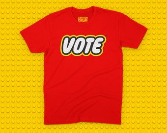 Lego Style Vote Election Screen Printed Shirt w/ FREE Button  - Vote T-Shirt - Vote Shirt, Voting Tee -  \\ Limited Edition //