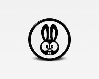 Black & White Series - Bunny Rabbit Enamel Lapel Pin - Limited Edition of 100. By Matt Douglas