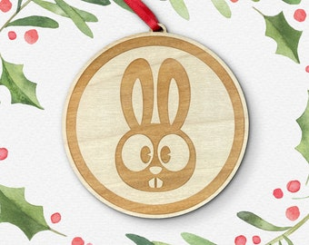 Bunny Rabbit Laser Cut Holiday Ornament / Wood Ornament / Christmas Decoration / Vermont