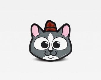 Cat in Red Winter Hat Enamel Lapel Pin. Limited Edition of 100. By Matt Douglas