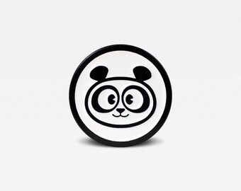 Black & White Series - Panda Bear Enamel Lapel Pin - Limited Edition of 50. By Matt Douglas