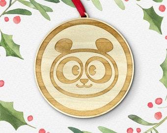 Panda Bear Laser Cut Holiday Ornament / Wood Ornament / Christmas Decoration / Vermont