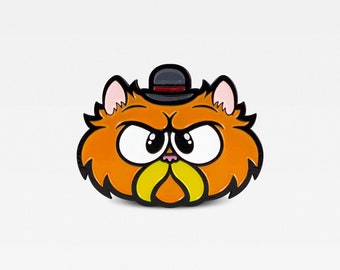 Mad Persian Cat in Bowler Hat Enamel Pin -  Limited Edition of 100. By Matt Douglas