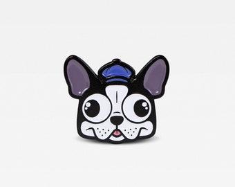 Boston Terrier in Newsie Hat Enamel Lapel Pin. Limited Edition of 100. By Matt Douglas