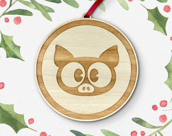 Pig Laser Cut Holiday Ornament / Wood Ornament / Christmas Decoration / Vermont