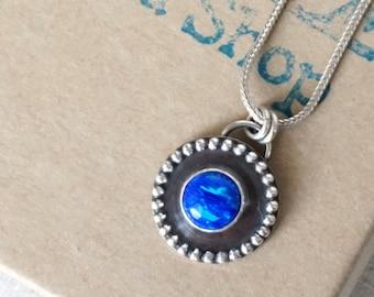 Cobalt Blue Aura Opal Shadowbox Pendant