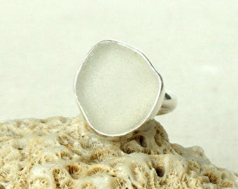 Clear Sea Glass Ring, Size 7