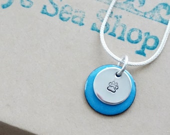 Hand Stamped Sterling Silver Paw Print on Enamel Pendant - Choose Your Color
