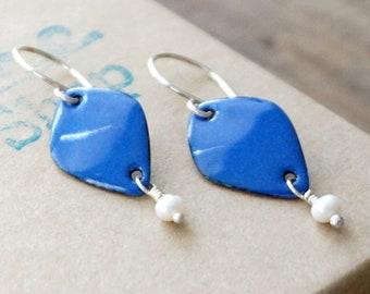 CLEARANCE - Cobalt Blue Enamel Diamond and Pearl Earrings