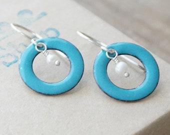 CLEARANCE - Teal Blue Green Enamel Circle and Pearl Earrings