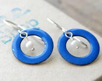 CLEARANCE - Cobalt Blue Enamel Circle and Pearl Earrings