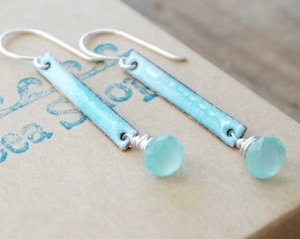 Light Blue and Aqua Enamel and Aqua Chalcedony Earrings